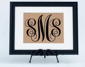 Personalized Monogram Framed Burlap Print Fabric Art Print Wedding or Anniversary Gift (#1376FB)