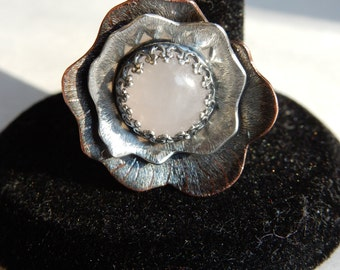 Beautiful, Mixt Metal Flower Ring, Rose Quartz, Sterling Silver, Copper, Handmade, One of a Kind, Size 9 1/2 (US)