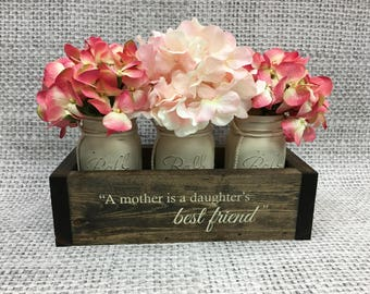 """Gifts for Mom, Mother of the Bride Gift, Mothers Day from Daughter, Mothers Birthday, Christmas Gift Ideas - """"Engraved Planter Box w/ Jars""""."""