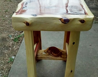 Handmade Cedar log end table