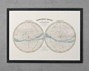 ANTIQUE CELESTIAL MAP - Antique Map of the Stars - Professional Reproduction - Vintage Map Wall Art Antique Zodiac Map Astrology Map