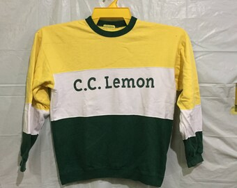 Rare!! C.C LEMON Sweatshirt Pullover Jumper Colour Block Multicolour Hiphop rap Swag medium size