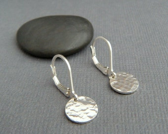 """tiny sterling silver dangles hammered circle earrings petite disc everyday sterling jewelry leverback lever back drop latchback latch. 3/8"""""""
