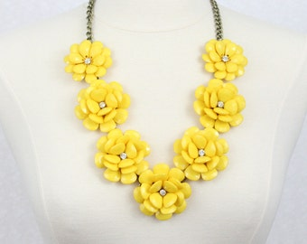 Yellow rose necklace etsy yellow beaded rose necklace chunky flower statement necklace yellow seven big flower necklace mightylinksfo