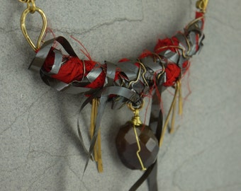 Mixed Tape (With Love) - Milagros Series Mixed Media Necklace
