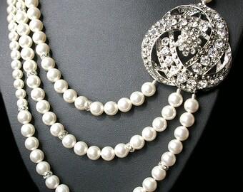 Art Deco Bridal Necklace, Bridal Jewelry, Wedding Necklace, Vintage Wedding Jewelry, Statement Necklace, Great Gatsby Wedding Jewelry, LOIS