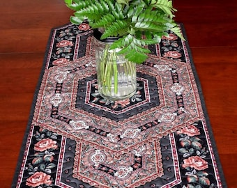 Quilted Table Runner, Charcoal Grey, Black and Rose