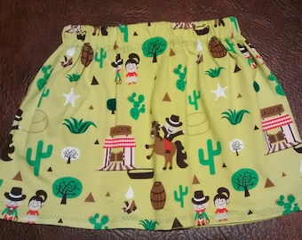 Girls western cowboy horse skirt made of stretch fabric with an elastic waist