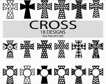 CROSS SVG Christian Monograms/ Patterned Chevron Clip art/ Easter Svg files Christmas Ornament Svg Cut Files Cricut/ Silhouette Dxf Png Eps