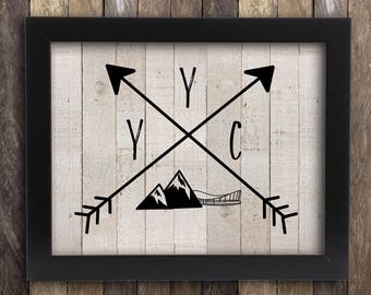 Calgary Skyline YYC Tribal Print - Saddledome Rockies Mountain  - Canadian Province Poster - Calgary Stampede Home Decor - Arrows Rustic Map