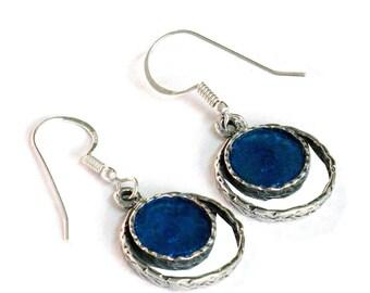 Unique Earrings, Ethnic Design Earrings, Sterling Silver Earrings, Roman Glass Earrings, Dangle Earrings, Israel Jewelry, Boho Chic Earrings