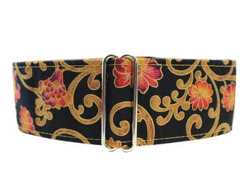 Black and Gold Martingale Collar, 2 Inch Martingale Collar, Christmas Martingale Collar, Christmas Dog Collar, Black and Gold Dog Collar,