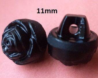 9 Glass Knobs Black 11 mm (1330) Small buttons