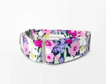 RARE * Spring Wild Flowers Adjustable Dog Collar - Martingale Collar or Side Release Buckle Collar - Pink, purple & white floral on n