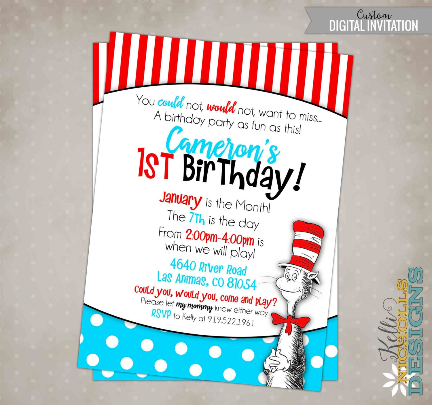 Cat in the Hat Birthday Party Invitation Custom Dr. Seuss