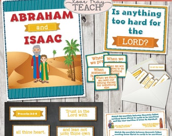 """LDS Primary 6 Lesson 11: """"Abraham and Isaac"""" Lesson helps include Title poster, Scripture Scramble, Worksheet and much more!"""