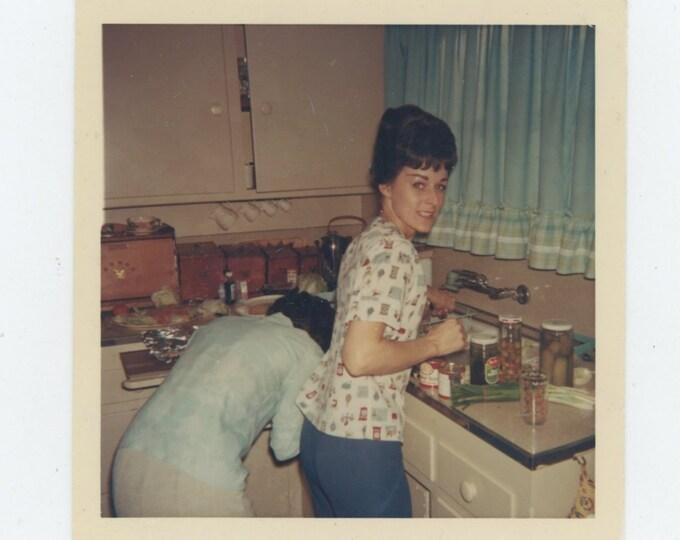 Vintage Snapshot Photo, c1960s-70s: In the Kitchen [84664]