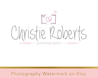 Instant download logo - pre-made DIY Logo Design - Photography Watermark - Watermark Design - Heart Logo - Camera Logo - Photography Logo 23