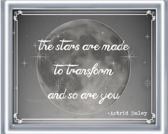 Stars Poem Art Print 8 x 10 - Poetry on Linen - Metaphysical - Spiritual - The Stars are Made to Transform and So Are You - Transcendence