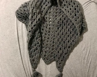 hand crocheted grey granny square triangle scarf with tassels