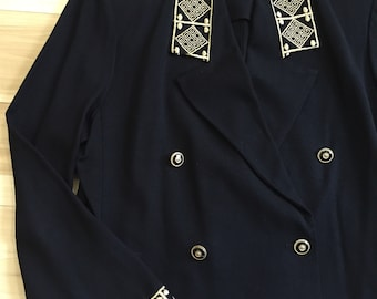 Double-Breasted Blazer with Gold Embroidered Trim