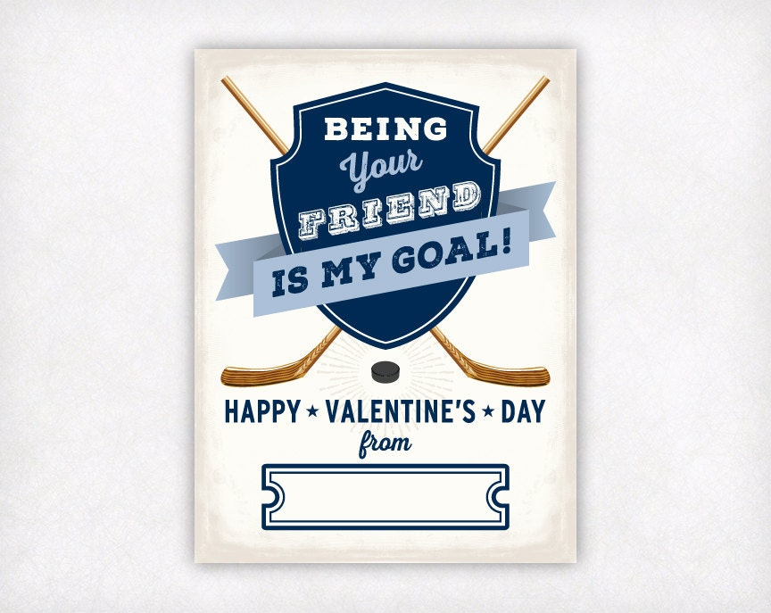printable valentine cards kids valentines vintage hockey