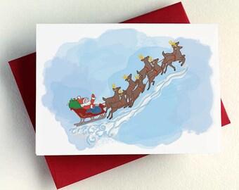 Santa and his Reindeer - Santa Greeting Card - Santa and his Reindeer - Holiday Card - Christmas Card