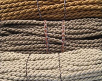 Vintage 3/8 Inch Cotton Drapery Cord Rope Taupe (2 yards)