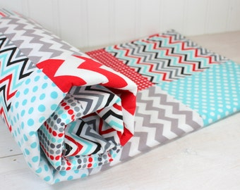 Baby Blanket, Minky Baby Blanket, Baby Shower Gift, Patchwork Quilt, Baby Quilt, Nursery Decor, Red, Aqua, Blue, Gray, Grey, White, Baby Boy