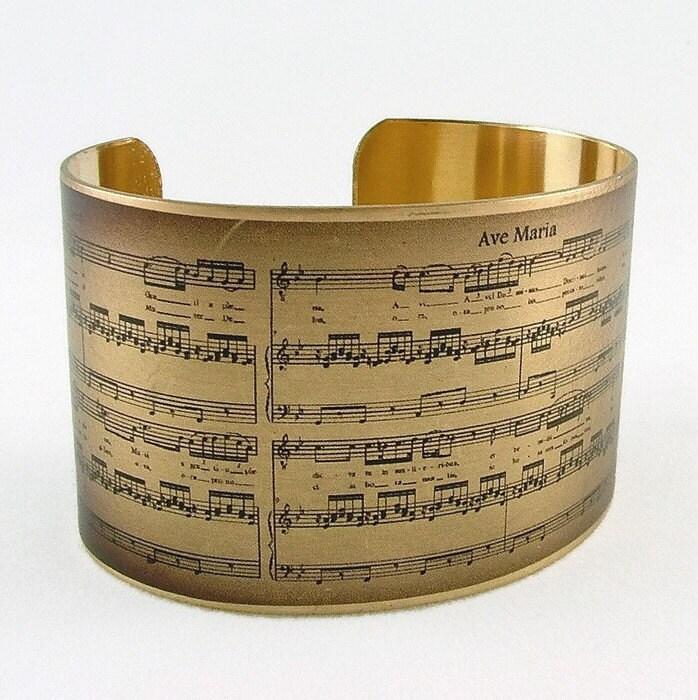 Sheet Music Bracelet Schubert Ave Maria Music Cuff