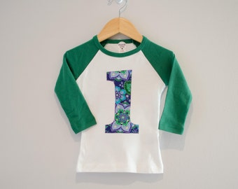 Ready to Ship, Girls 1st Birthday Shirt, 1st Birthday Raglan Shirt, Purple and Green Floral Flowers, Size 18m, Green and White Raglan, 18m