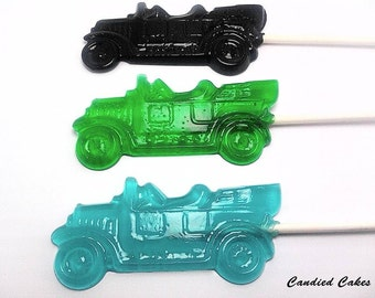 12 ANTIQUE CAR LOLLIPOPS - Hard Candy