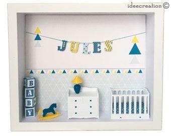 Cadre prénom bebe, vitrine miniature naissance, chambre bebe, modèle bleu et jaune