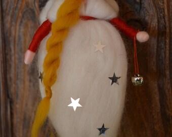 Christmas Angel waldorf inspired, magic wool needle felted, Christmas decor