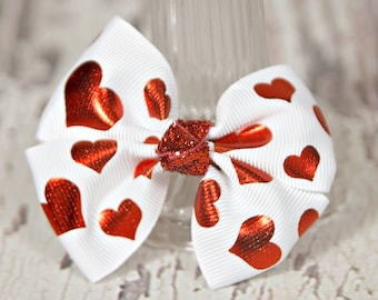 Red Hearts Pinwheel Bow, Girls Valentine Hair Bow, Red Foil Hearts Hair Bow, Valentine Hair Bow, Girls Bow Accessories, Valentine Hearts Bow