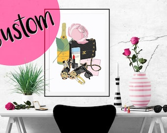 CUSTOM What's in my Bag Portrait Illustration Art Poster