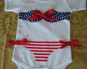 Patriotic 4th of July  Bikini Onesie Bodysuit Size 0- 3, 3-6, 6- 12  months