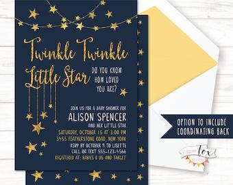 Twinkle Twinkle Little Star Baby Shower Invitation / Twinkle Twinkle Baby  Shower Invite / Baby Shower Invite / Baby Shower Invitation /