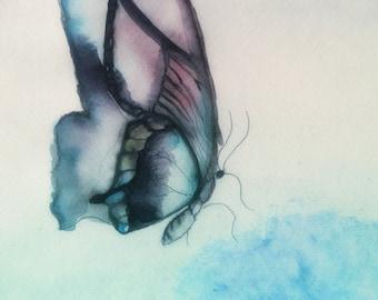 Digital watercolour Butterfly print