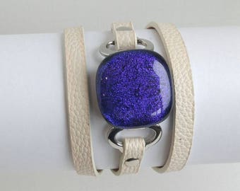 Purple Sparkle Triple Wrap Cuff Bracelet, Dichroic Glass