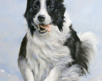 Aceo Dog Print, Border Collie. From an Original Painting by Award Winning Artist JOHN SILVER. Personally signed. BC004AC