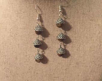 Silver and tiger eye dangle earrings