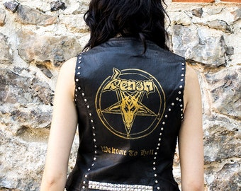 HAND PAINTED Real Leather Venom Vest Top Biker Welcome to Hell Size L studs spikes black thrash heavy metal 80's metalhead rock and roll