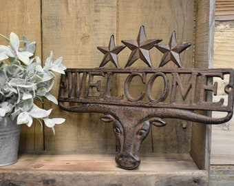 Cast Iron Wall Hanging - Welcome - You pick color