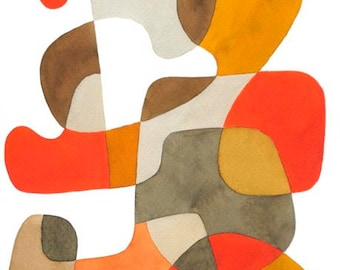 Abstract Art Print Poster Mid Century Modern 'Walking' Home decor orange mustard yellow brown gray beige 11 x 16