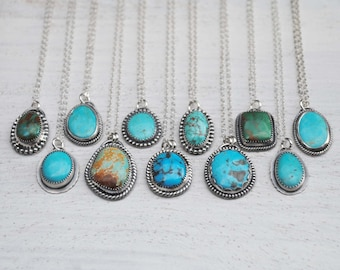 Turquoise Necklace - Turquoise Jewelry - Sterling Silver Turquoise Necklace