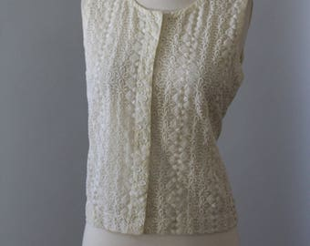Vintage Lace Shell Top 60s Sheer Cream Lace Button Sleeveless Short Small Medium