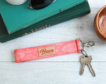 Coral Key Fob | Wrist Strap Key Lanyard with Coral Leaves and Nature
