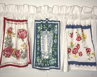 Vintage Style Window Valance MODA HANKY Hankies Floral Farmhouse She Shed French Flea Market Style