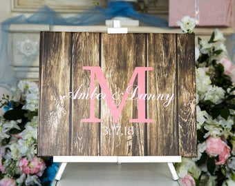 Monogram Guest book Wedding GuestBook CANVAS Wedding Guest Book Canvas Guest book Alternative Wedding Guestbook Wedding Gift